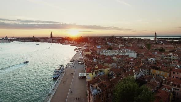 Thumbnail for Famous Venice Water Front and Buildings During Sunset