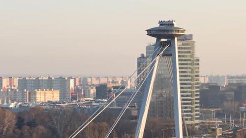 Hyperlapse of SNP Bridge in Bratislava