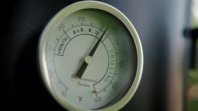 Close Up View of The Smokehouse Door Closed with a Thermometer