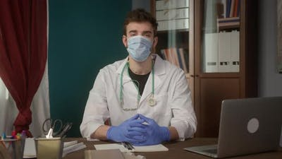 Doctor Wearing Medical Mask Consultation Video Conference in Video Chat Medical App