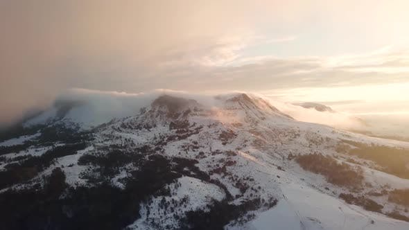Thumbnail for Beautiful Mountain Range Winter Landscape Clouds Aerial Flight Footage Over Peaks Epic Panorama