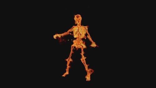 Brennendes Skelett Thriller Show