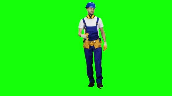 Thumbnail for Builder Comes with a Hammer in His Hands. Green Screen