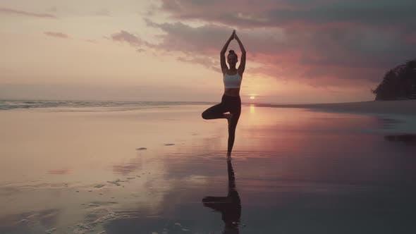 Thumbnail for Woman Balancing at Sunset on Beach