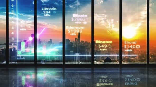 Chicago Futuristic Cryptocurrency Hologram