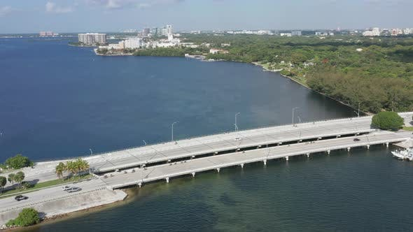 Thumbnail for Miami Highway Along the Seafront. Green City Is Seen in the Distance