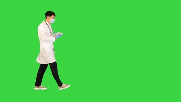 Young Asian Doctor Walks Looking at Documents on a Green Screen Chroma Key
