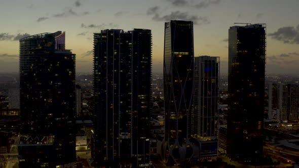 Aerial Video Highrise Condominiums Downtown Miami Fl 4k 30p
