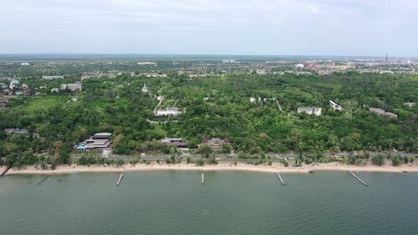 Seashore in the city. Aerial view