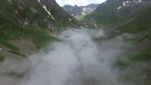 Cloud Covering the Bottom of the U-shaped Valley