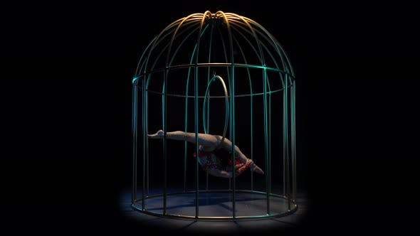 Thumbnail for Acrobat on a Spinning Hoop in a Cage, Black Background