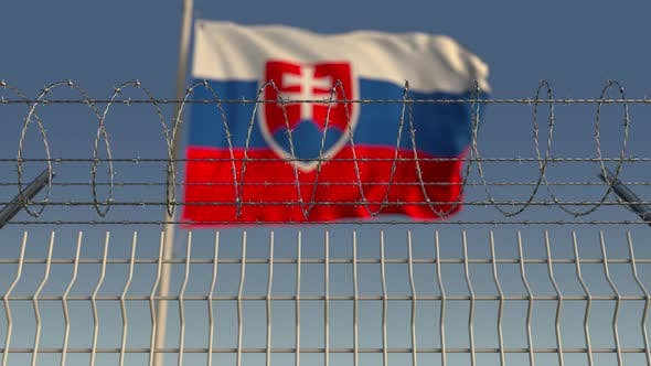 Thumbnail for Waving Flag of Slovakia Behind Barbed Wire
