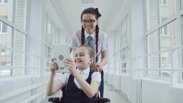 Thumbnail for Smiley Schoolgirls Taking Selfies