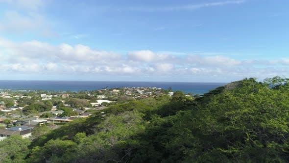 Flying over Honolulu, Hawaii