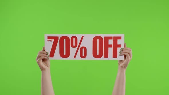 Thumbnail for 70 Percent Off Advertisement Inscription on Paper Sheet in Womans Hands on Chroma Key. Slow Motion