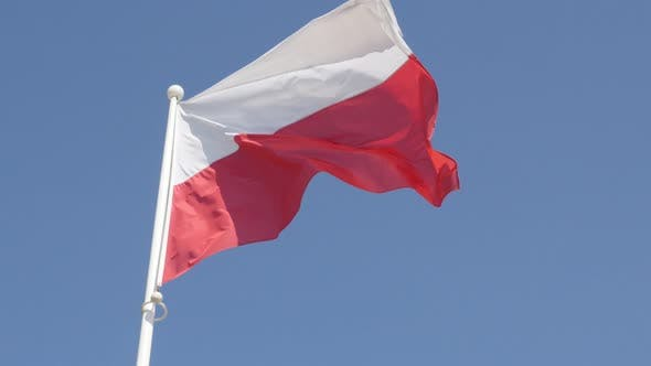 Famous national symbol of Poland in front of blue sky 4K 2160p 30fps UltraHD footage - Polish flag r