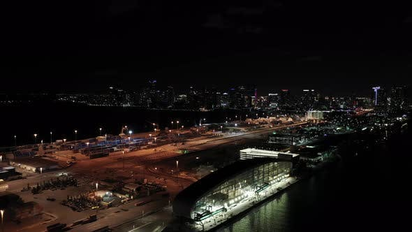 Thumbnail for Night Aerial Downtown Miami And Port