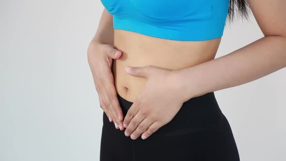 close up belly of woman