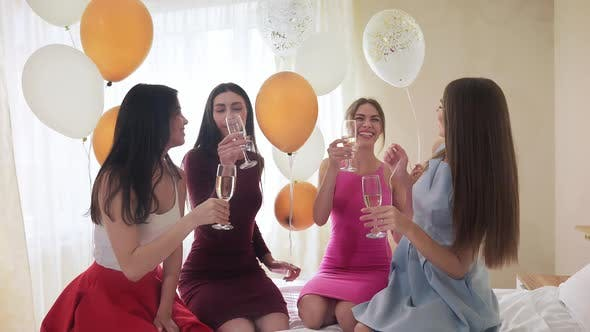 Thumbnail for Cheerful Pretty Girls Drinking Champagne at Hen Party