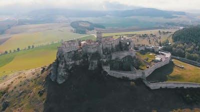 Aerial Drone View on Spis Castle Slovakia Ancient Castle, Spissky Hrad