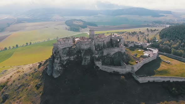 Aerial Drone View on Spis Castle Slovakia Ancient Castle, Spissky Hrad