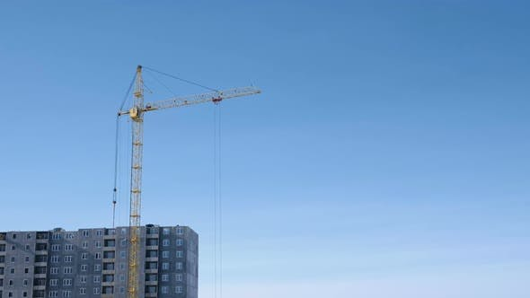 Thumbnail for Construction of a Multi-storey Building. Crane Turns To the Side