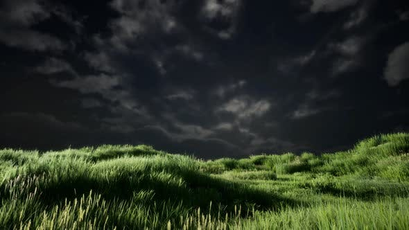 Thumbnail for Storm Clouds Above Meadow with Green Grass