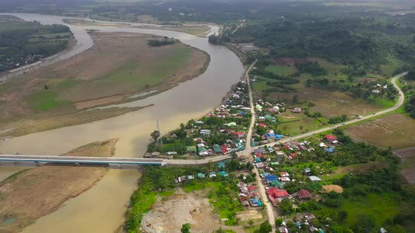 Thumbnail for Landscape, Bridge Over the River and Town, Top View. River Town on Luzon Island, Philippines