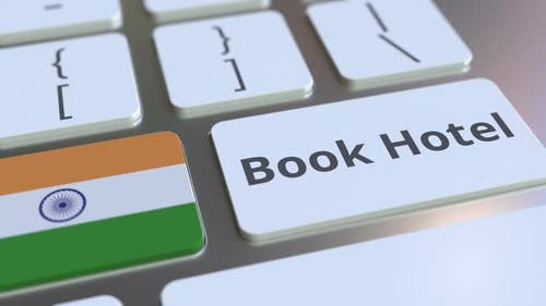 BOOK HOTEL Text and Flag of India on the Buttons