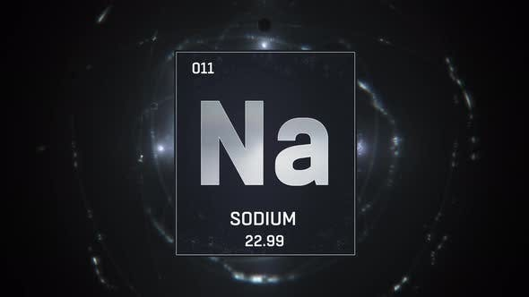 Thumbnail for Sodium as Element 11 of the Periodic Table On Silver Background