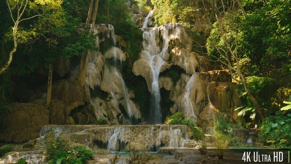 Thumbnail for 4K Panoramic View of Waterfall in Luang Prabang, Laos