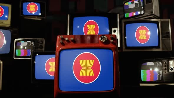 Flag Of ASEAN (Association of Southeast Asian Nations) and Retro TVs.