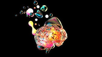 Creative abstract brain exploding with paint art