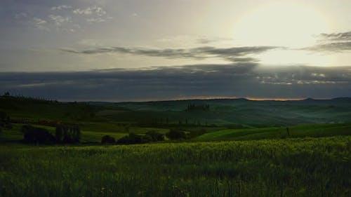 Tuscany Landscape Sunrise Farm House and Hills