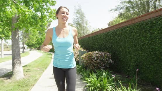 Thumbnail for Happy healthy woman running