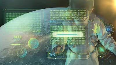 An Astronaut Examines An Array Of Coded Data 4K