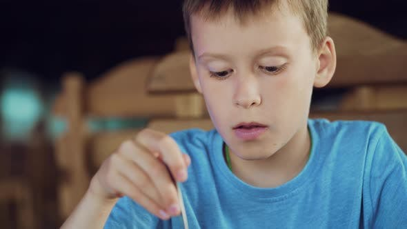 Thumbnail for Young Boy Eating Ice Cream with Spoon