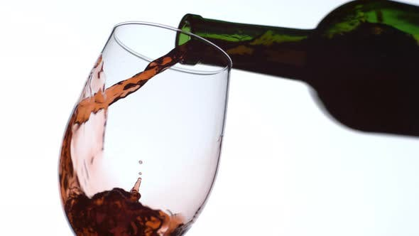 Pouring a glass of red wine in slow motion; shot on Phantom Flex 4K at 1000 fps