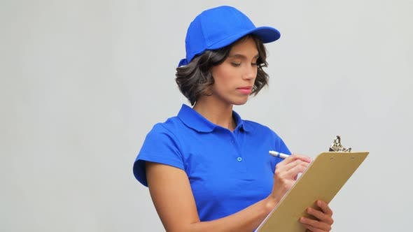 Delivery Girl with Clipboard and Pen Writing
