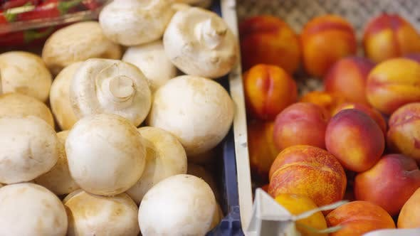 Thumbnail for Fresh Fruit and Mushrooms in Food Market