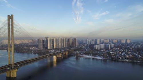 Aerial view of the Southern Bridge in Kiev