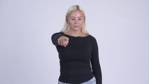 Thumbnail for Young Beautiful Blonde Woman Pointing at Camera