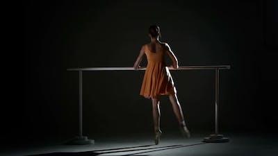 Ballerina in the Ballet Hall on Ballet Barre