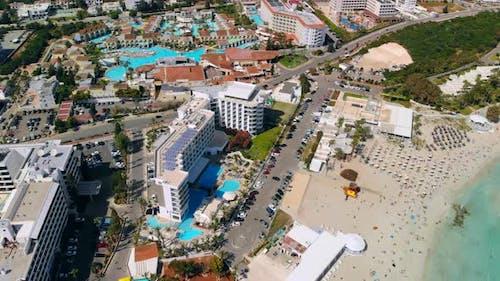 Aerial View of Modern Premium Hotels in Ayia Napa Cyprus