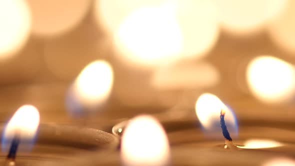 Thumbnail for Many Candles Light on Black Background