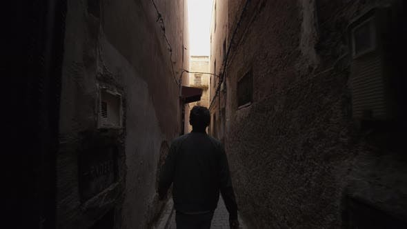 Thumbnail for ADVENTUROUS YOUNG MAN EPIC WALKING THROUGH TIGHTS STREETS AND CORNERS IN MOROCCO OLD TOWN