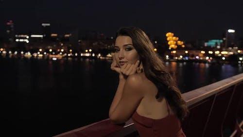 Beautiful Tourist Woman in Night City