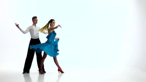 Thumbnail for Rumba Dancing Couple of Professional Elegant Dancers,slow Motion. White Studio