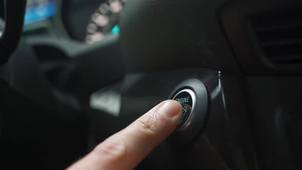 Thumbnail for Male Hand Pushes Engine Start Stop Button in a Modern Car Interior