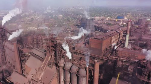 Smoke and grime from a steel mill. Aerial view